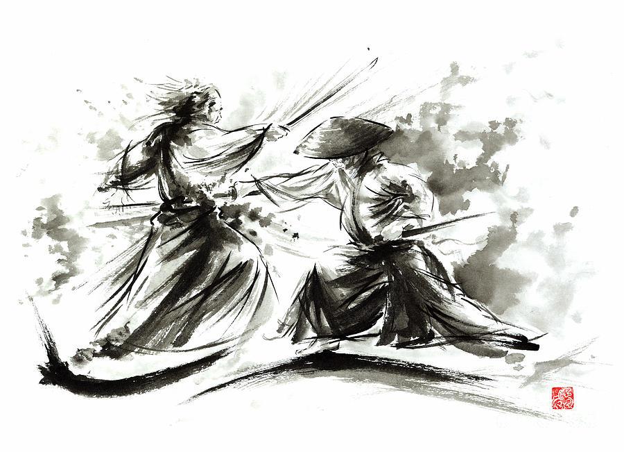 samurai-sword-bushido-katana-martial-arts-budo-sumi-e-original-ink-painting-artwork-mariusz-szmerdt